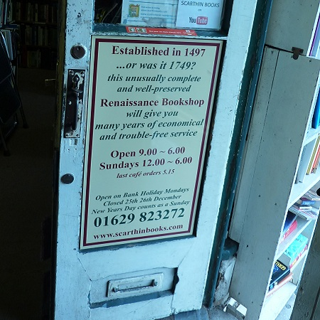 scarthin opening shop book door sign, cromford, derbyshire